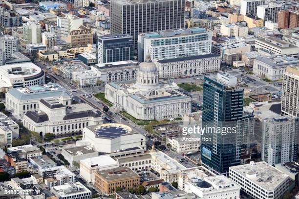 Aerial photography view south of San Francisco City Hall in the San Francisco Bay Area. California, United States.