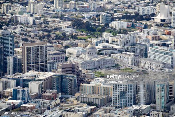 Aerial photography view west of San Francisco City Hall in the San Francisco Bay Area. California, United States.