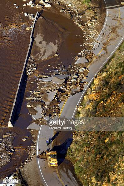 Aerial photos of areas damaged by recent mudslides Wednesday afternoon This is the heavily damaged San Francisquito Road north of Santa Clarita