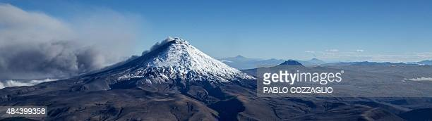 Aerial picture of the Cotopaxi volcano spewing ash on August 18 2015 Nearly 325000 people could be affected by an eruption of Cotopaxi the volcano...