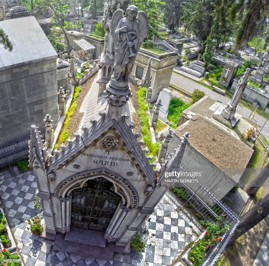 Aerial picture of the General Cemetery of Santiago, in Chile, taken on October 13, 2014