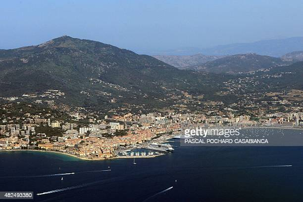 Aerial picture taken on July 11 2015 shows the city of Ajaccio on the French Mediterranean island of Corsica AFP PHOTO / PASCAL POCHARDCASABIANCA