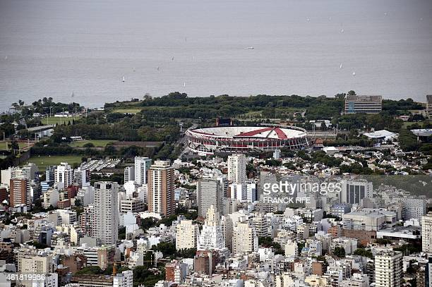 Aerial picture taken over Buenos Aires Argentina showing River Plate's Monumental stadium on January 3 2015 AFP PHOTO / FRANCK FIFE