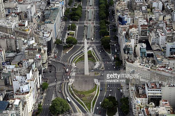 Aerial picture taken over Buenos Aires Argentina showing the Obelisk on January 3 2015 AFP PHOTO / FRANCK FIFE