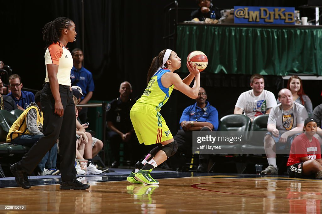 Aerial Powers #23 of Dallas Wings shoots the ball against the Indiana Fever during a preseason game on May 1, 2016 at Bankers Life Fieldhouse in Indianapolis, Indiana.