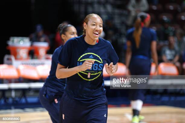 Aerial Powers of the Dallas Wings gets introduced before the game against the Connecticut Sun on August 12 2017 at Mohegan Sun Arena in Uncasville CT...