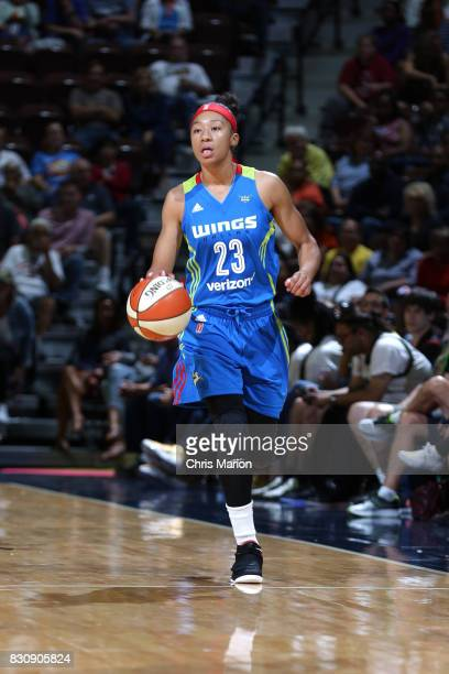 Aerial Powers of the Dallas Wings handles the ball against the Connecticut Sun on August 12 2017 at Mohegan Sun Arena in Uncasville CT NOTE TO USER...