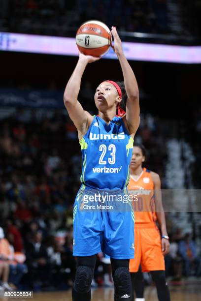 Aerial Powers of the Dallas Wings shoots a free throw against the Connecticut Sun on August 12 2017 at Mohegan Sun Arena in Uncasville CT NOTE TO...