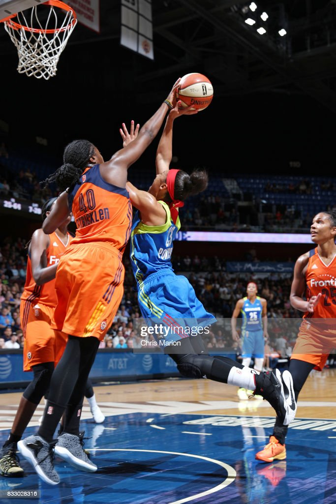 Aerial Powers #23 of the Dallas Wings shoots the ball against the Connecticut Sun on August 12, 2017 at Mohegan Sun Arena in Uncasville, CT.