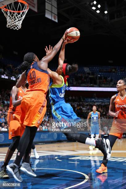 Aerial Powers of the Dallas Wings shoots the ball against the Connecticut Sun on August 12 2017 at Mohegan Sun Arena in Uncasville CT NOTE TO USER...
