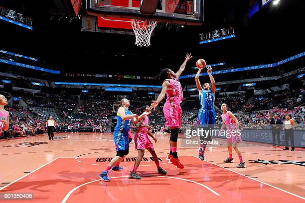 Aerial Powers of the Dallas Wings shoots the ball during the game against the San Antonio Stars during the WNBA game on September 9 2016 at the ATT...