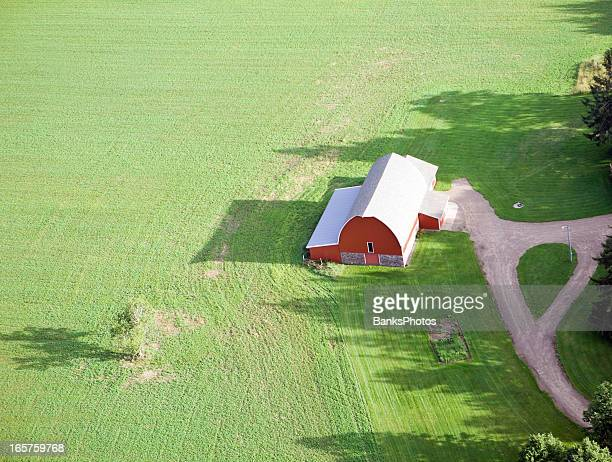 Aerial Red Barn in Summer Field