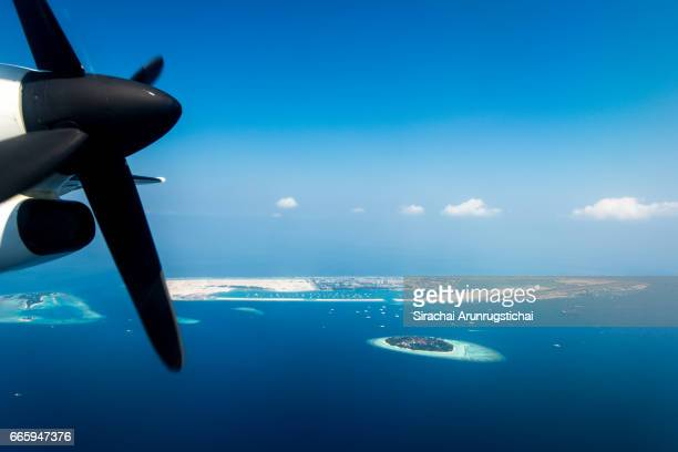 Aerial scenery of Velena airport of Malé, Maldives.
