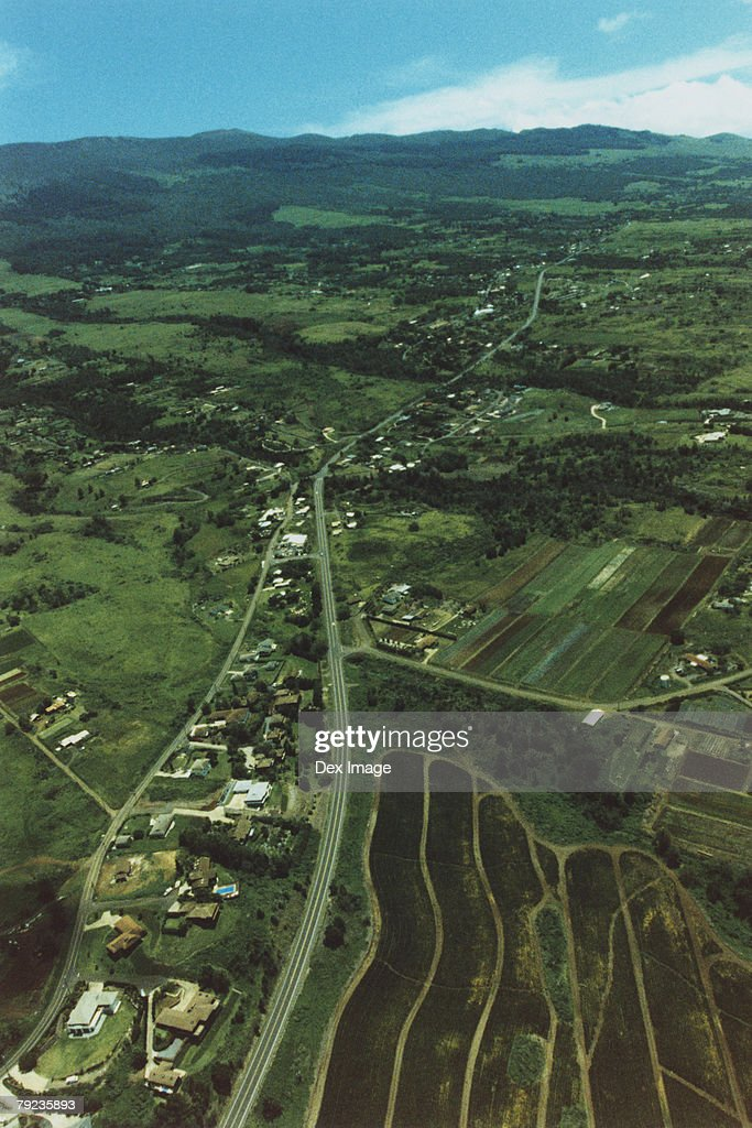 Aerial scenic of a small town, Maui, Hawaii : Stock Photo