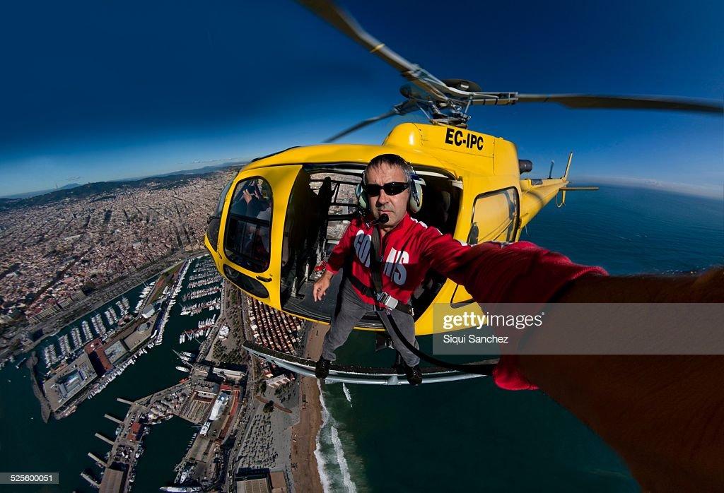 Aerial selfie. Barcelona, Spain