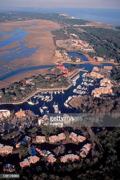 Aerial, Shelter Cove Marina and Hilton Head, SC