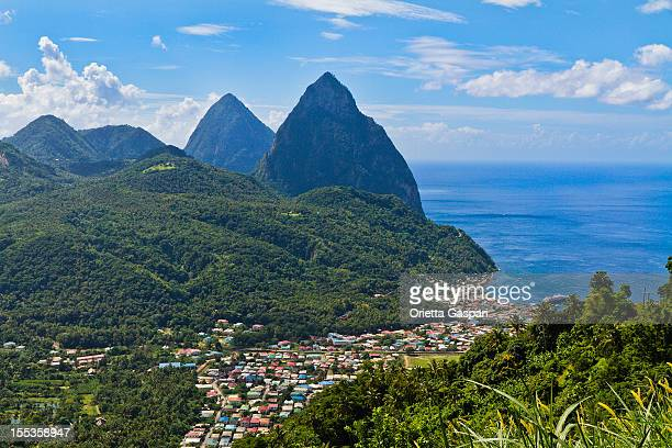 Aerial shot of bay at Soufriere and Pitons, St Lucia