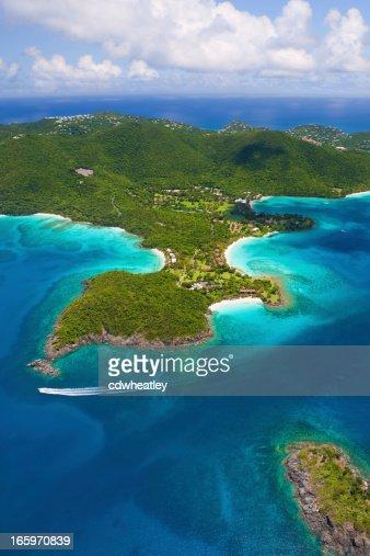 aerial shot of Caneel Bay, St. John, US Virgin Islands