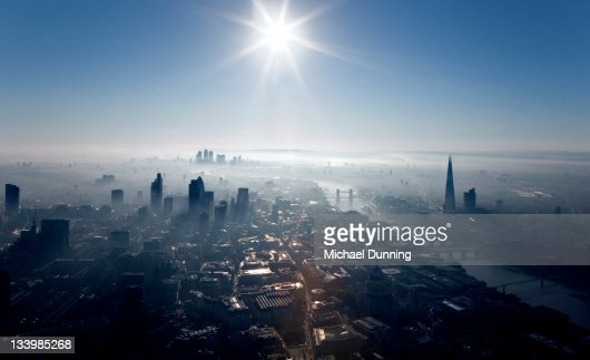 Aerial shot of City of London : Stock Photo