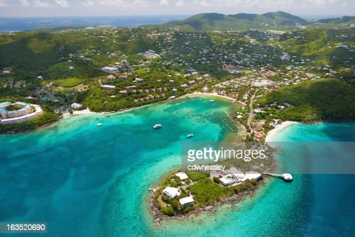 aerial shot of Coki Point in St.Thomas, US Virgin Islands