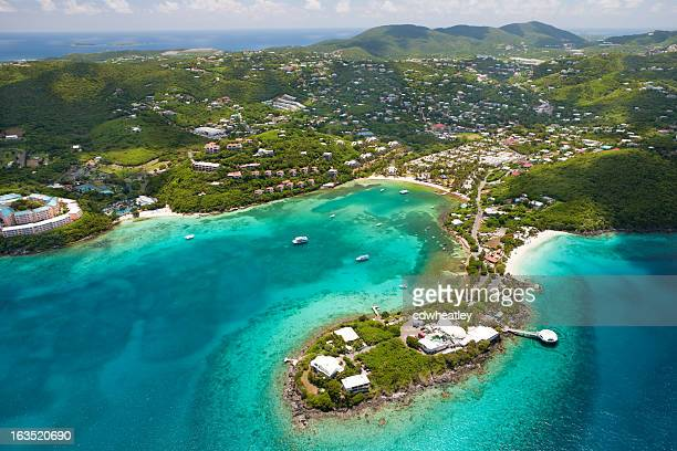 aerial shot of Coki Point in St.Thomas, US Virgin Islands
