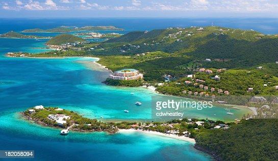 'aerial shot of Coki Point, St. Thomas, US Virgin Islands'