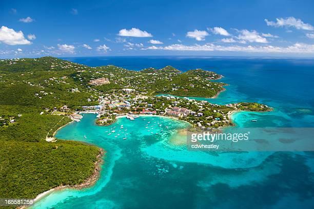 Filmagem aérea da Cruz Bay, St.John em Ilhas Virgens Americanas