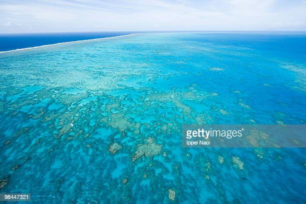 Aerial shot of Great Barrier Reef