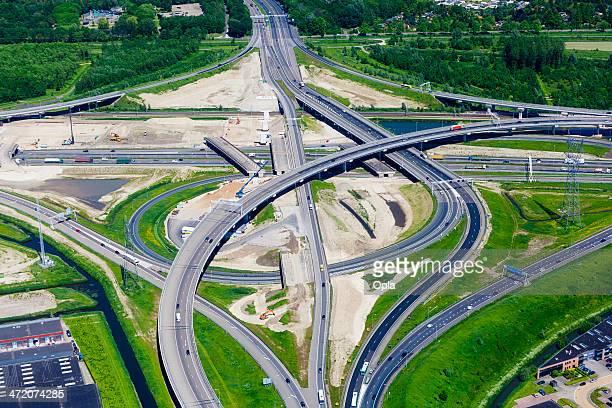Vue aérienne de l'autoroute interchange