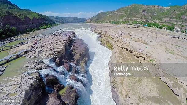 Aerial shot of hukou waterfalls of Yellow river