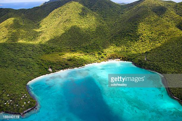 aerial shot of Maho Bay, St. John, US Virgin Islands