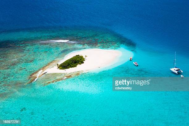 aerial shot of Sandy Spit in British Virgin Islands