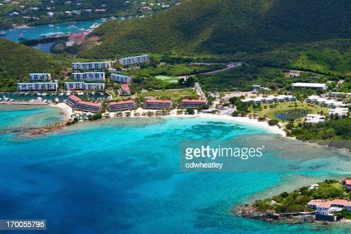 aerial shot of Sapphire Bay, St. Thomas, US Virgin Islands