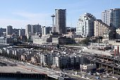 An aerial shot of Seattle traffic featuring the soon to be replaced Alaskan Way Viaduct freeway jammed with cars