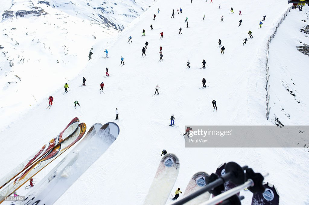 aerial shot of skiers on slope : Stock Photo