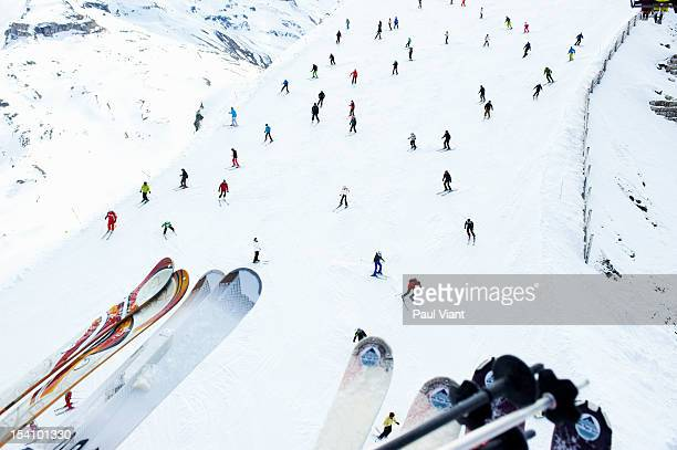 aerial shot of skiers on slope