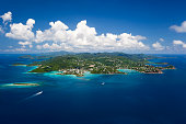aerial shot of St. John in US Virgin Islands