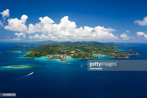 aerial shot of St. John in US Virgin Islands