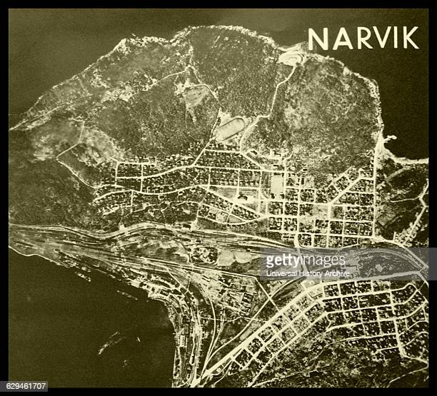 Aerial shot of the Norwegian port Narvik The town was a high target for the German forces due to the iron mines and was occupied in 1940