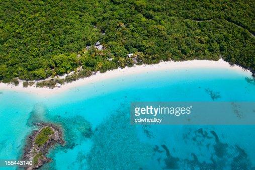 aerial shot of Trunk Bay, St. John, US Virgin Islands