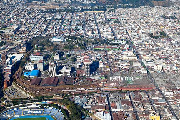 Aerial shot of Zona 2, Guatemala city, Guatemala.