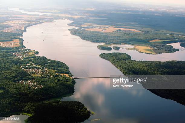 Aerial shot: river and forest in Russia