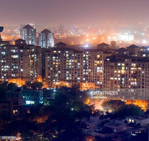 aerial shots gurgaon delhi cityscape