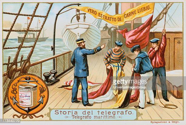 Aerial Telegraph Naval Semaphore Sailors hoisting flags which have been assembled to convey a message to a nearby vessel Liebig trade card issued...