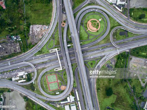 aerial top view, Expressway road intersect in city .