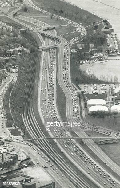 Aerial Traffic into Exhibition Stadium at 130 pm Looking East along Lakeshore and Gardiner Expressway
