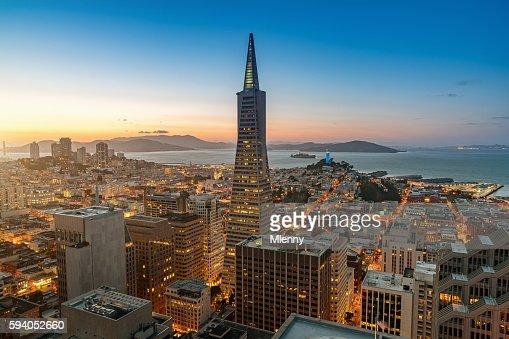 Aerial Twilight View Transamerica Pyramid San Francisco Cityscape