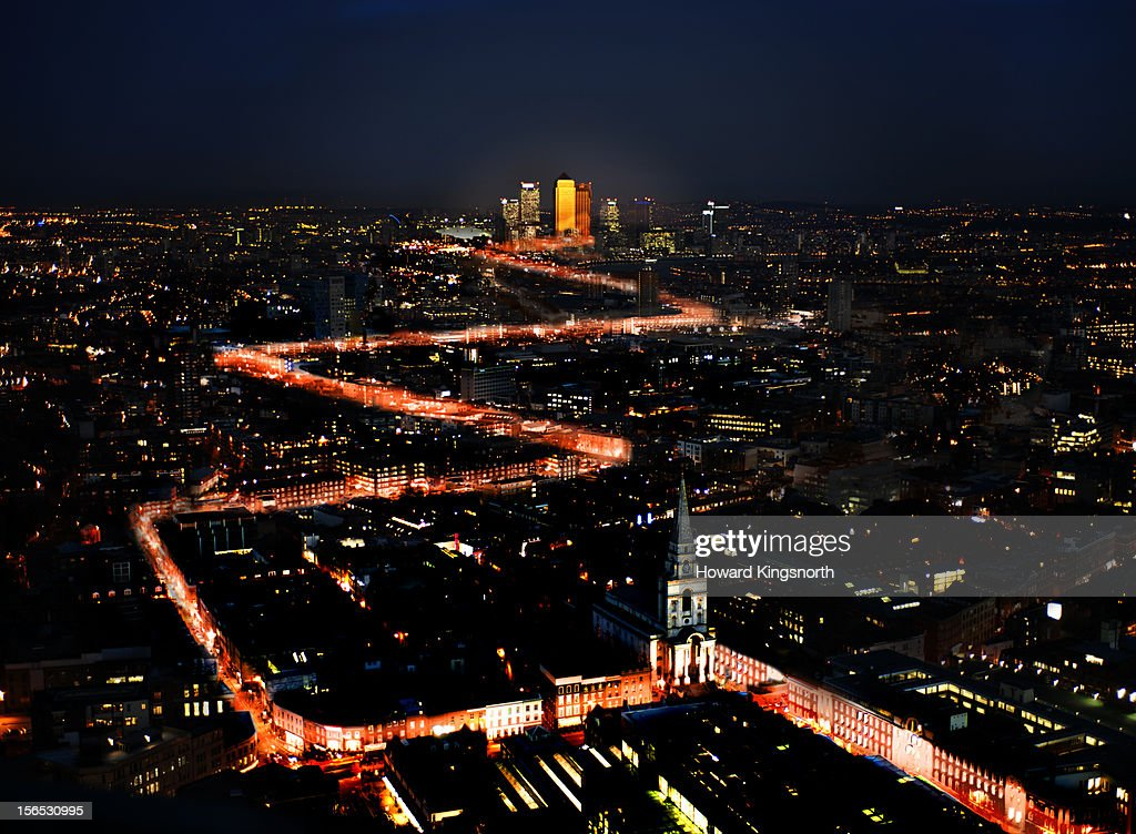 Aerial Urban Light Trails : Stock Photo