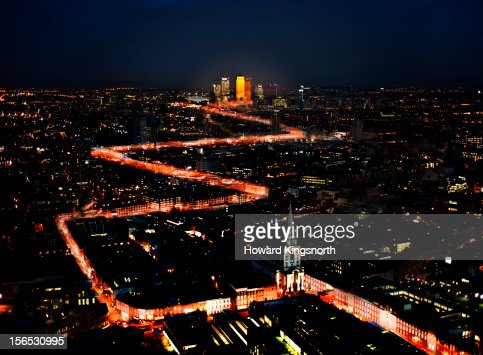 Aerial Urban Light Trails : Stock Photo