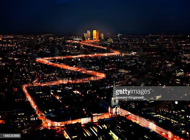 Aerial Urban Light Trails